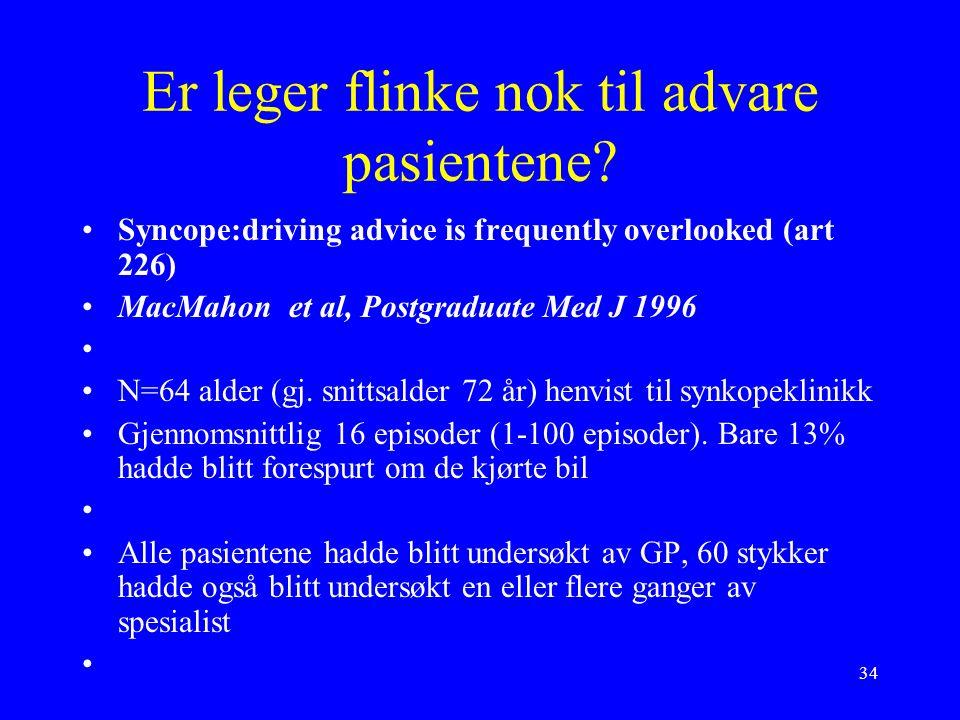 34 Er leger flinke nok til advare pasientene.