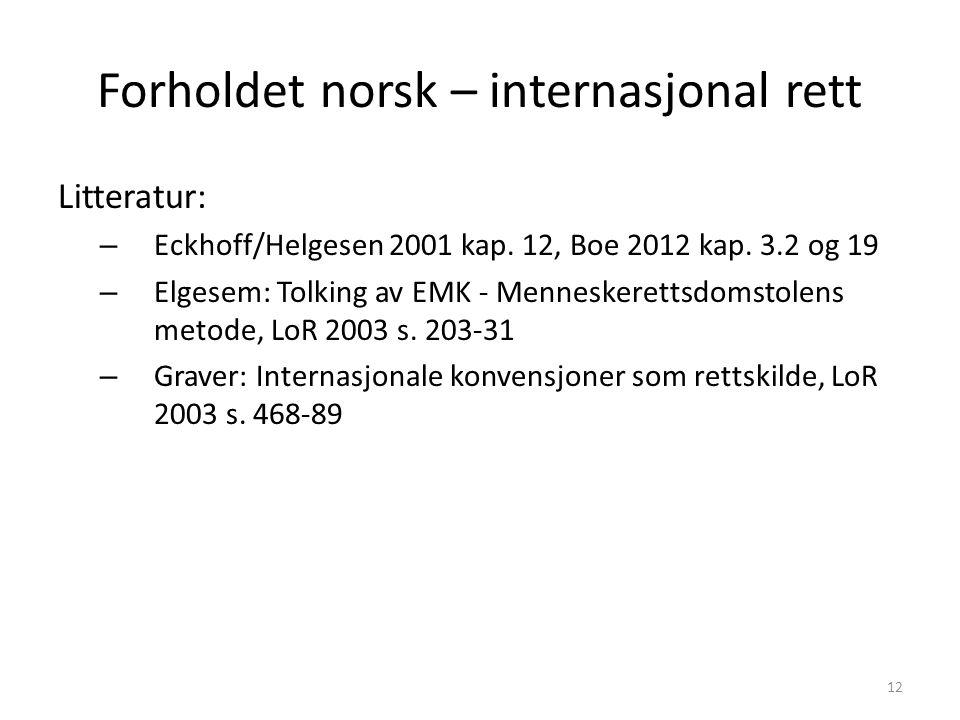 Forholdet norsk – internasjonal rett Litteratur: – Eckhoff/Helgesen 2001 kap.