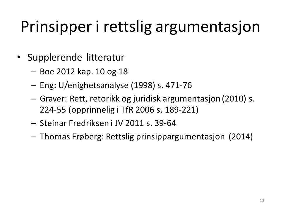 Prinsipper i rettslig argumentasjon Supplerende litteratur – Boe 2012 kap.