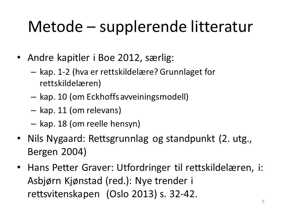 Metode – supplerende litteratur Andre kapitler i Boe 2012, særlig: – kap.