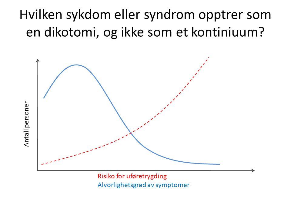 Antall personer Risiko for uføretrygding Alvorlighetsgrad av symptomer Hvilken sykdom eller syndrom opptrer som en dikotomi, og ikke som et kontiniuum?
