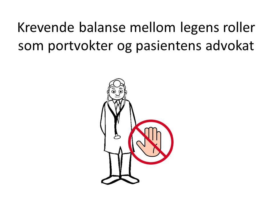 Krevende balanse mellom legens roller som portvokter og pasientens advokat