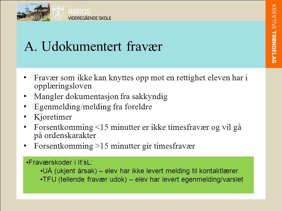 A. Udokumentert fravær Fravær som ikke kan knyttes opp mot en rettighet eleven har i opplæringsloven Mangler dokumentasjon fra sakkyndig Egenmelding/m