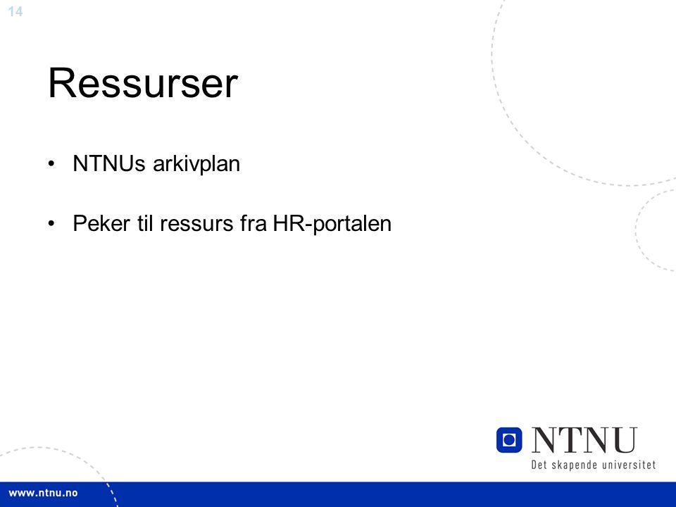 14 Ressurser NTNUs arkivplan Peker til ressurs fra HR-portalen