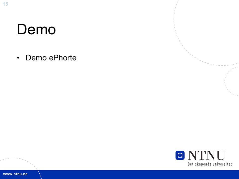 15 Demo Demo ePhorte