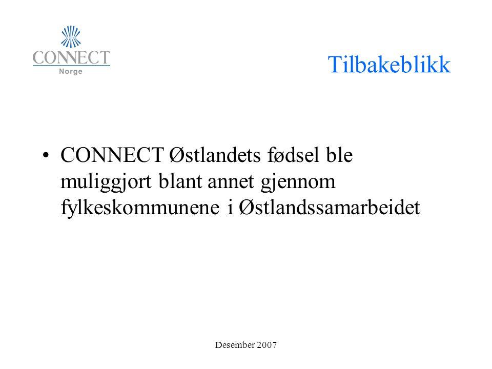 Tilbakeblikk CONNECT Østlandets fødsel ble muliggjort blant annet gjennom fylkeskommunene i Østlandssamarbeidet Desember 2007