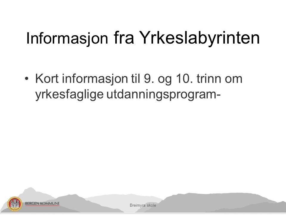 Informasjon fra Yrkeslabyrinten Kort informasjon til 9.