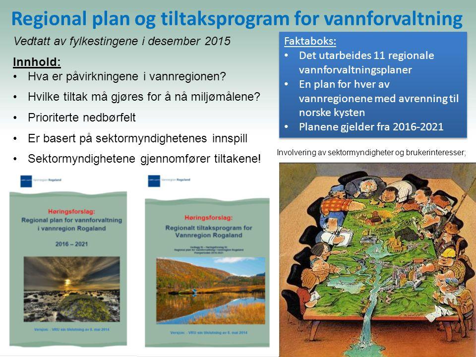 Regional plan og tiltaksprogram for vannforvaltning Involvering av sektormyndigheter og brukerinteresser; Vedtatt av fylkestingene i desember 2015 Innhold: Hva er påvirkningene i vannregionen.