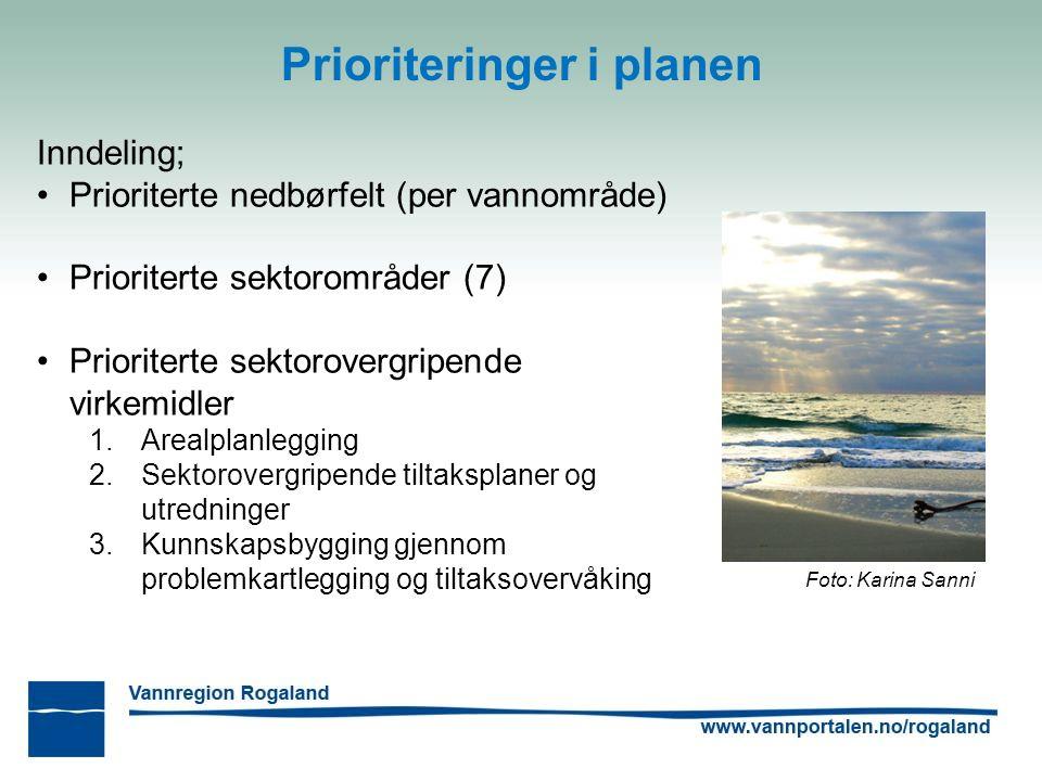 Prioriteringer i planen Foto: Karina Sanni Inndeling; Prioriterte nedbørfelt (per vannområde) Prioriterte sektorområder (7) Prioriterte sektorovergripende virkemidler 1.Arealplanlegging 2.Sektorovergripende tiltaksplaner og utredninger 3.Kunnskapsbygging gjennom problemkartlegging og tiltaksovervåking