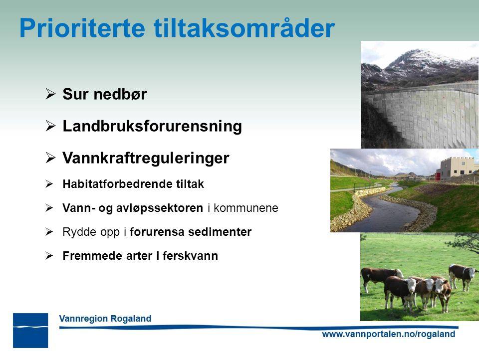 Prioriterte tiltaksområder  Sur nedbør  Landbruksforurensning  Vannkraftreguleringer  Habitatforbedrende tiltak  Vann- og avløpssektoren i kommunene  Rydde opp i forurensa sedimenter  Fremmede arter i ferskvann