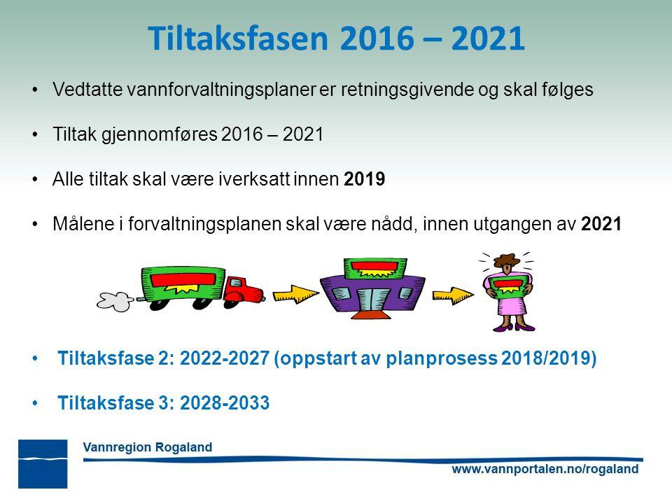 Tiltaksfasen 2016 – 2021 Vedtatte vannforvaltningsplaner er retningsgivende og skal følges Tiltak gjennomføres 2016 – 2021 Alle tiltak skal være iverksatt innen 2019 Målene i forvaltningsplanen skal være nådd, innen utgangen av 2021 Tiltaksfase 2: 2022-2027 (oppstart av planprosess 2018/2019) Tiltaksfase 3: 2028-2033
