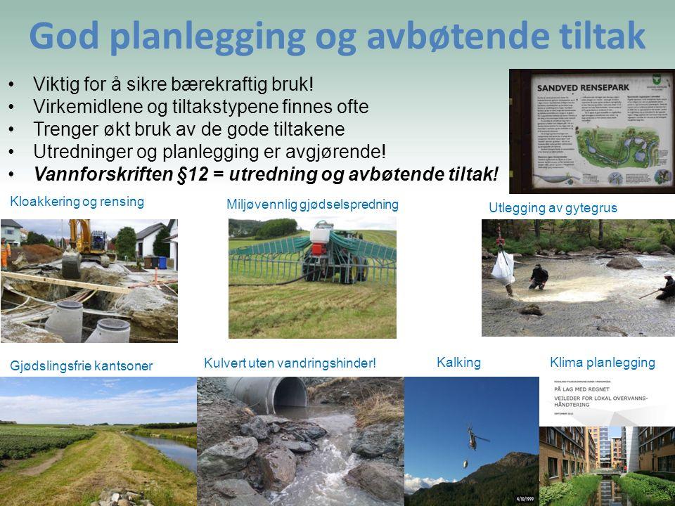 God planlegging og avbøtende tiltak Gjødslingsfrie kantsoner Kulvert uten vandringshinder! Kalking Klima planlegging Utlegging av gytegrus Miljøvennli