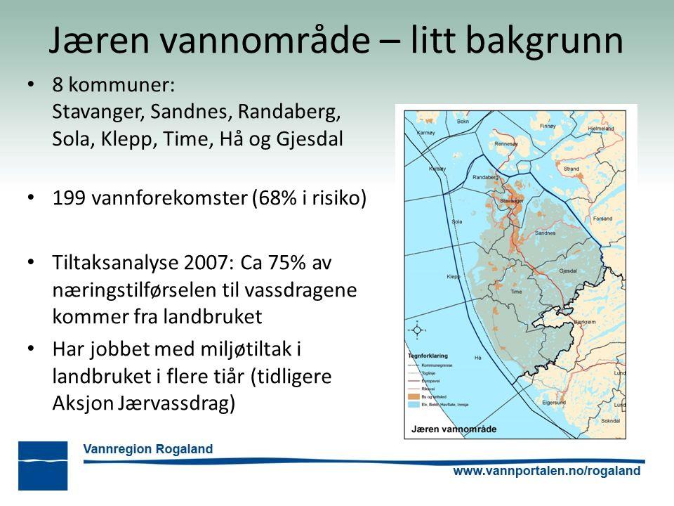 Jæren vannområde – litt bakgrunn 8 kommuner: Stavanger, Sandnes, Randaberg, Sola, Klepp, Time, Hå og Gjesdal 199 vannforekomster (68% i risiko) Tiltak