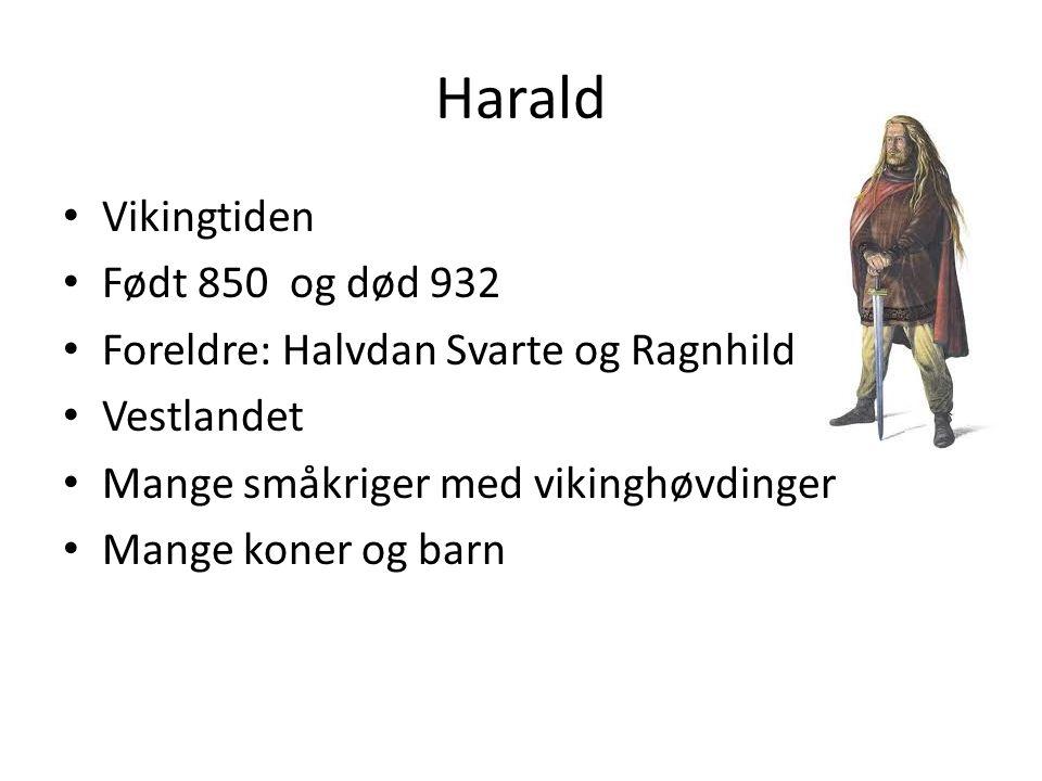 Harald Vikingtiden Født 850 og død 932 Foreldre: Halvdan Svarte og Ragnhild Vestlandet Mange småkriger med vikinghøvdinger Mange koner og barn