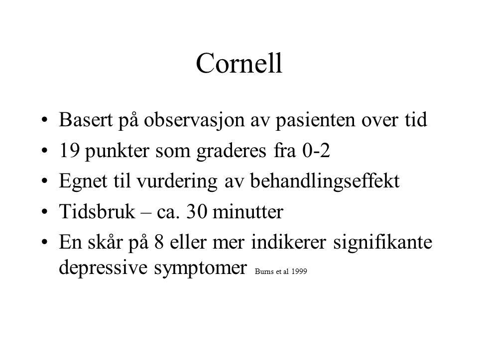 Cornell Basert på observasjon av pasienten over tid 19 punkter som graderes fra 0-2 Egnet til vurdering av behandlingseffekt Tidsbruk – ca.