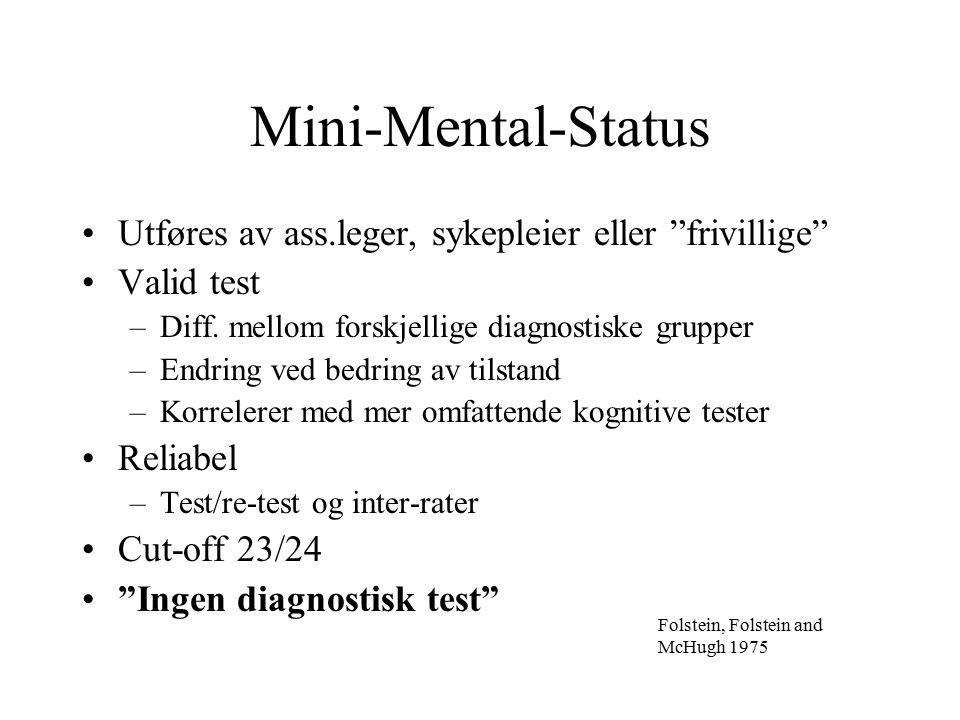 Mini-Mental-Status Utføres av ass.leger, sykepleier eller frivillige Valid test –Diff.
