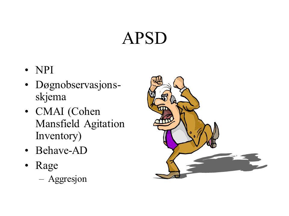 APSD NPI Døgnobservasjons- skjema CMAI (Cohen Mansfield Agitation Inventory) Behave-AD Rage –Aggresjon