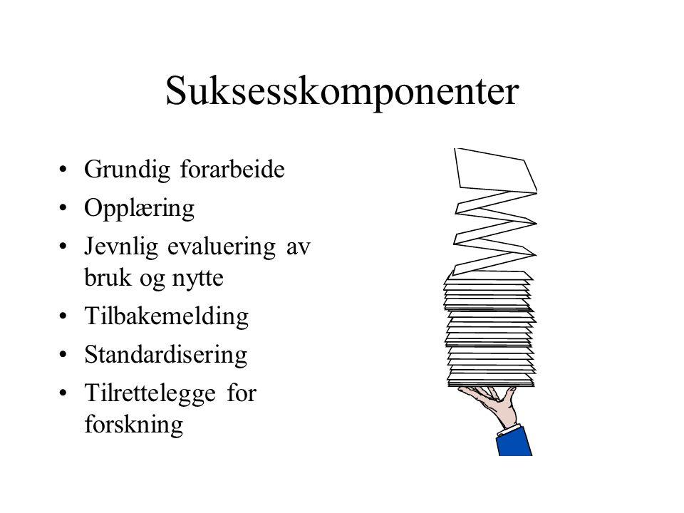 Suksesskomponenter Grundig forarbeide Opplæring Jevnlig evaluering av bruk og nytte Tilbakemelding Standardisering Tilrettelegge for forskning