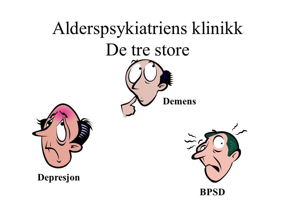 Alderspsykiatriens klinikk Demens Depresjon og angst Tilleggsproblemer ved demens Psykoser Delirium