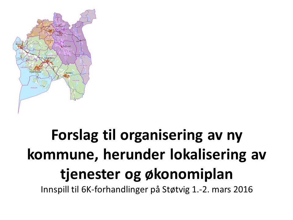 Forslag til organisering av ny kommune, herunder lokalisering av tjenester og økonomiplan Innspill til 6K-forhandlinger på Støtvig 1.-2.