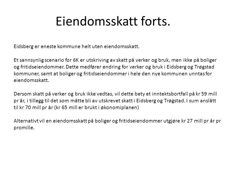 Eiendomsskatt forts. Eidsberg er eneste kommune helt uten eiendomsskatt.