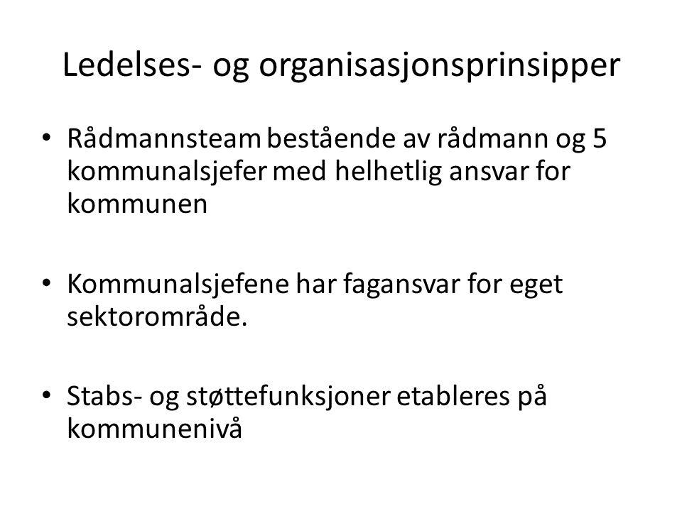Ledelses- og organisasjonsprinsipper Rådmannsteam bestående av rådmann og 5 kommunalsjefer med helhetlig ansvar for kommunen Kommunalsjefene har fagansvar for eget sektorområde.