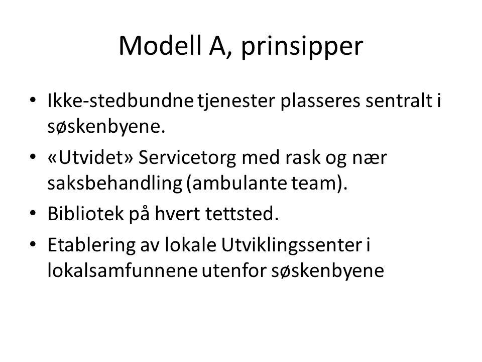 Modell A, prinsipper Ikke-stedbundne tjenester plasseres sentralt i søskenbyene.