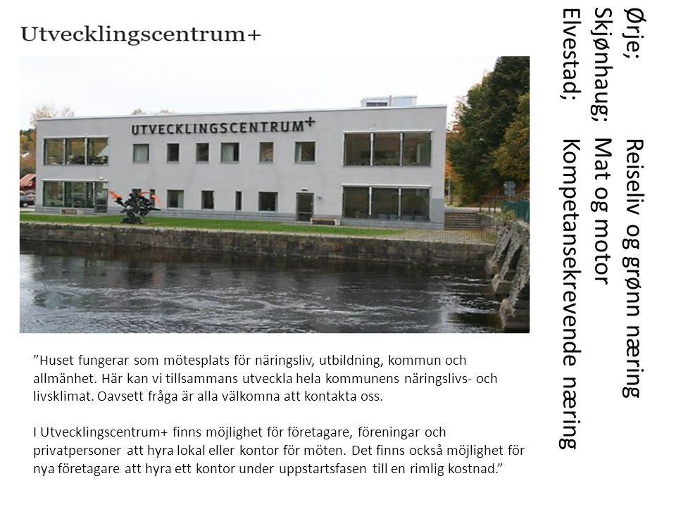 Ørje; Reiseliv og grønn næring Skjønhaug; Mat og motor Elvestad; Kompetansekrevende næring Huset fungerar som mötesplats för näringsliv, utbildning, kommun och allmänhet.