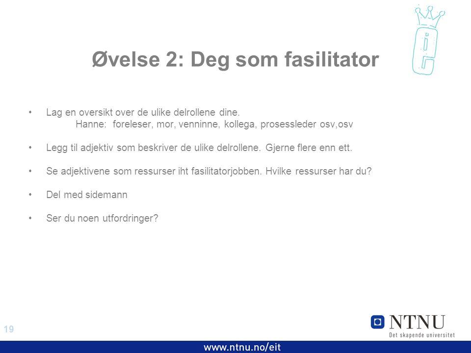 19 EiT 2006/2007 Øvelse 2: Deg som fasilitator Lag en oversikt over de ulike delrollene dine.