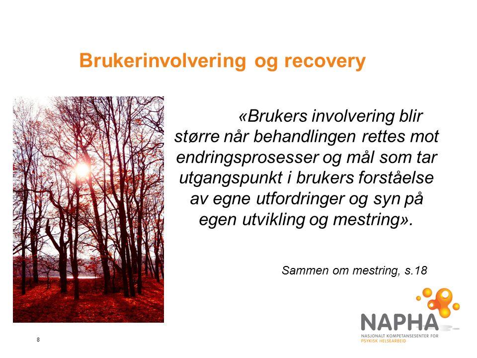 8 Brukerinvolvering og recovery «Brukers involvering blir større når behandlingen rettes mot endringsprosesser og mål som tar utgangspunkt i brukers forståelse av egne utfordringer og syn på egen utvikling og mestring».