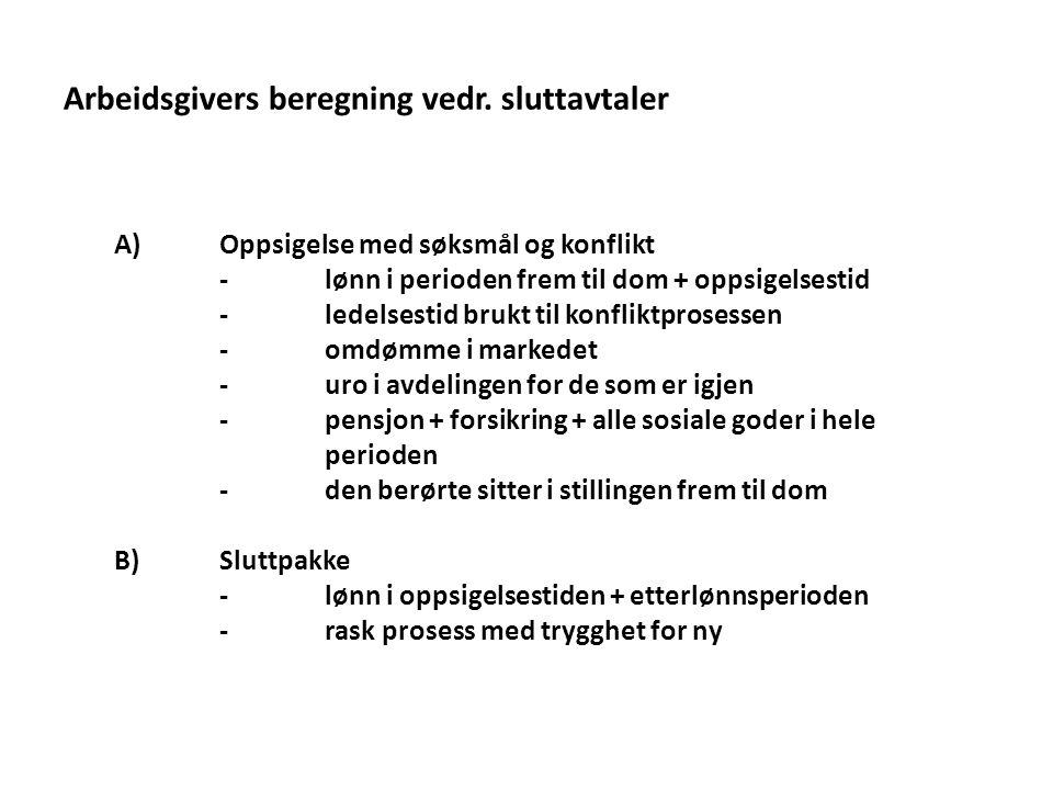 Arbeidsgivers beregning vedr. sluttavtaler A)Oppsigelse med søksmål og konflikt -lønn i perioden frem til dom + oppsigelsestid -ledelsestid brukt til