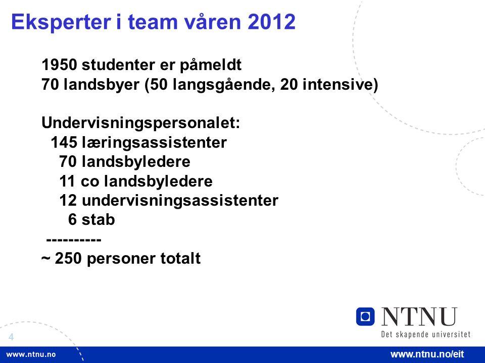 4 www.ntnu.no/eit Eksperter i team våren 2012 1950 studenter er påmeldt 70 landsbyer (50 langsgående, 20 intensive) Undervisningspersonalet: 145 læringsassistenter 70 landsbyledere 11 co landsbyledere 12 undervisningsassistenter 6 stab ---------- ~ 250 personer totalt