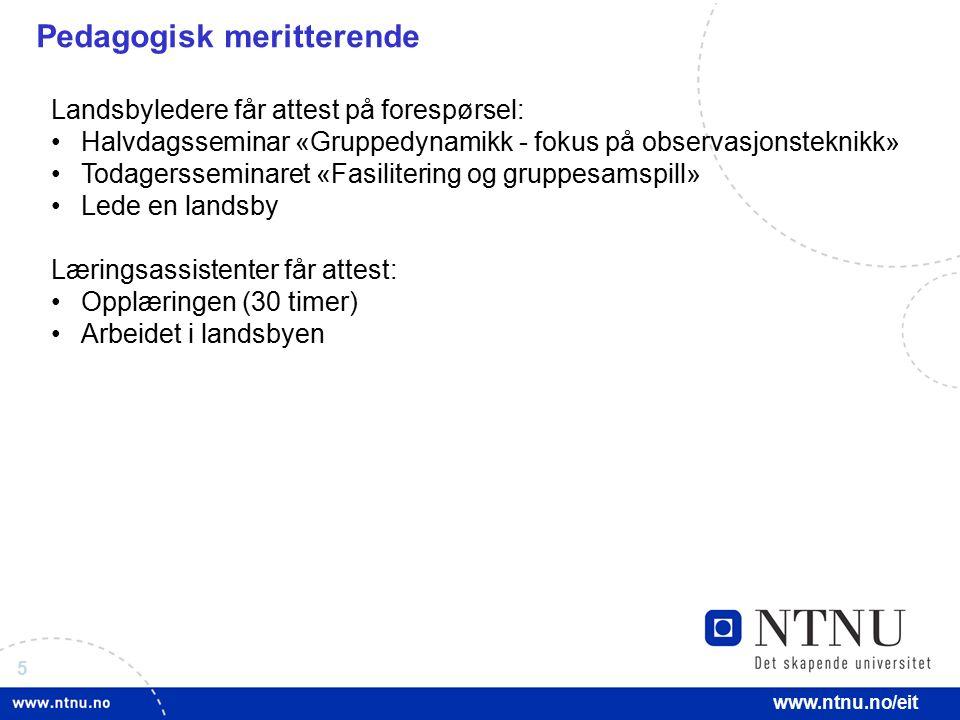 5 www.ntnu.no/eit Pedagogisk meritterende Landsbyledere får attest på forespørsel: Halvdagsseminar «Gruppedynamikk - fokus på observasjonsteknikk» Tod