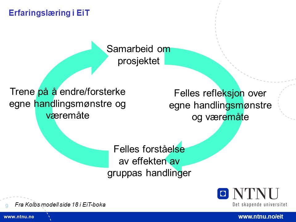 9 www.ntnu.no/eit Erfaringslæring i EiT Samarbeid om prosjektet Felles refleksjon over egne handlingsmønstre og væremåte Felles forståelse av effekten