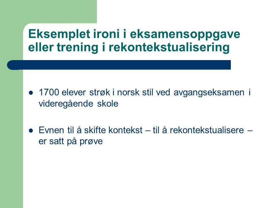 Eksemplet ironi i eksamensoppgave eller trening i rekontekstualisering 1700 elever strøk i norsk stil ved avgangseksamen i videregående skole Evnen til å skifte kontekst – til å rekontekstualisere – er satt på prøve