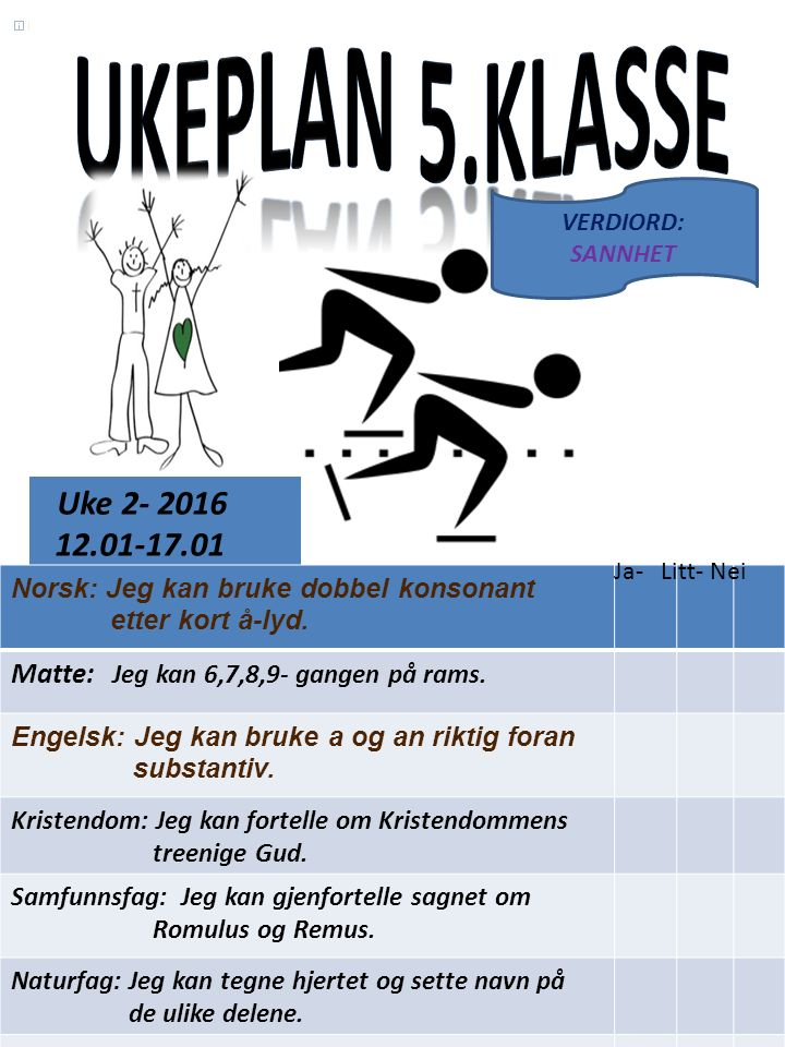 Uke 2- 2016 12.01-17.01 Norsk: Jeg kan bruke dobbel konsonant etter kort å-lyd.
