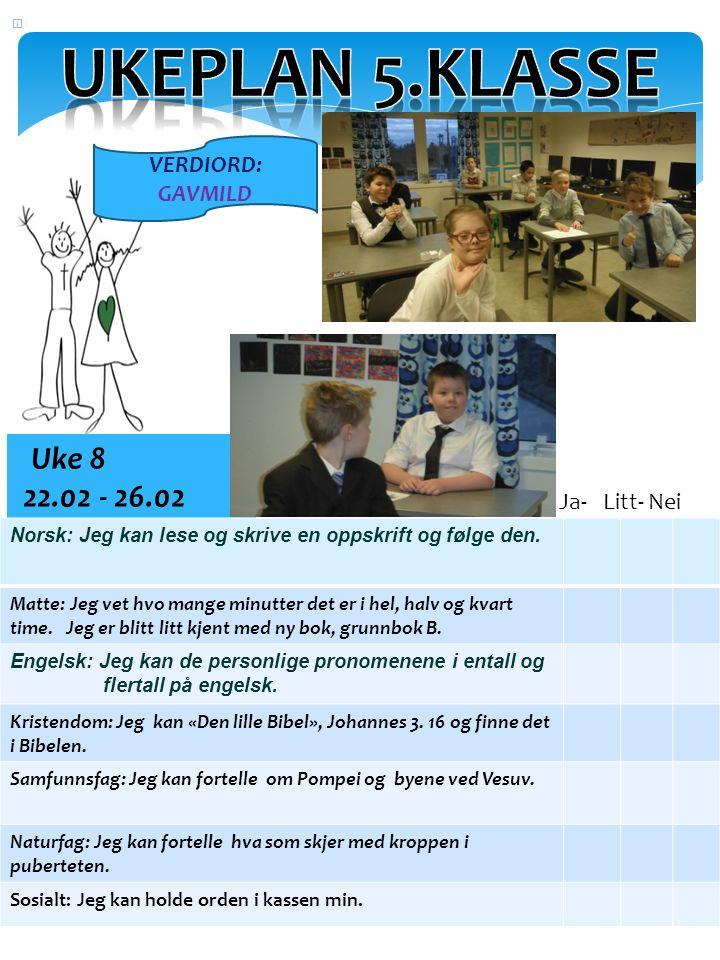 Uke 8 22.02 - 26.02 Norsk: Jeg kan lese og skrive en oppskrift og følge den.