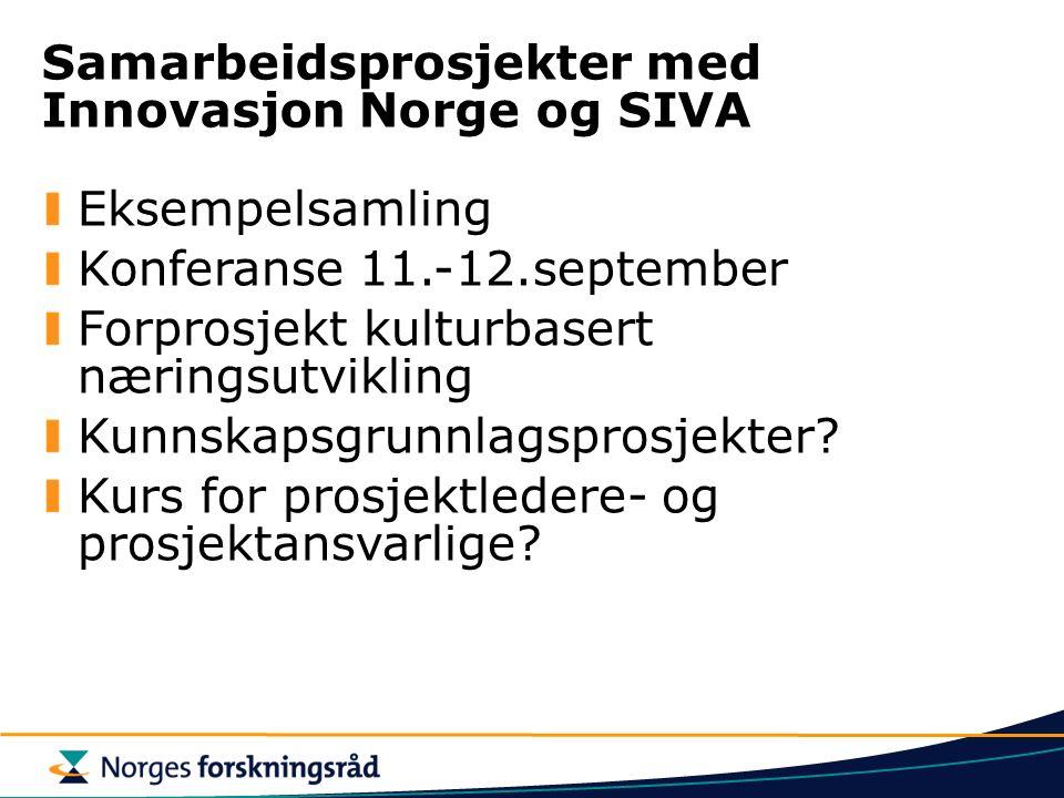 Samarbeidsprosjekter med Innovasjon Norge og SIVA Eksempelsamling Konferanse 11.-12.september Forprosjekt kulturbasert næringsutvikling Kunnskapsgrunnlagsprosjekter.