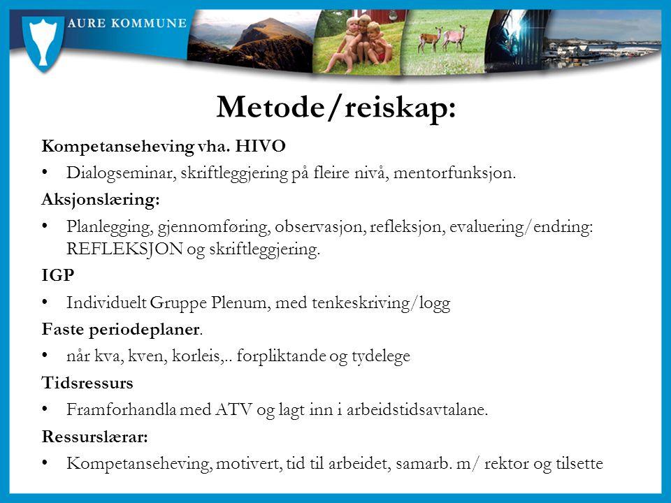 Metode/reiskap: Kompetanseheving vha. HIVO Dialogseminar, skriftleggjering på fleire nivå, mentorfunksjon. Aksjonslæring: Planlegging, gjennomføring,