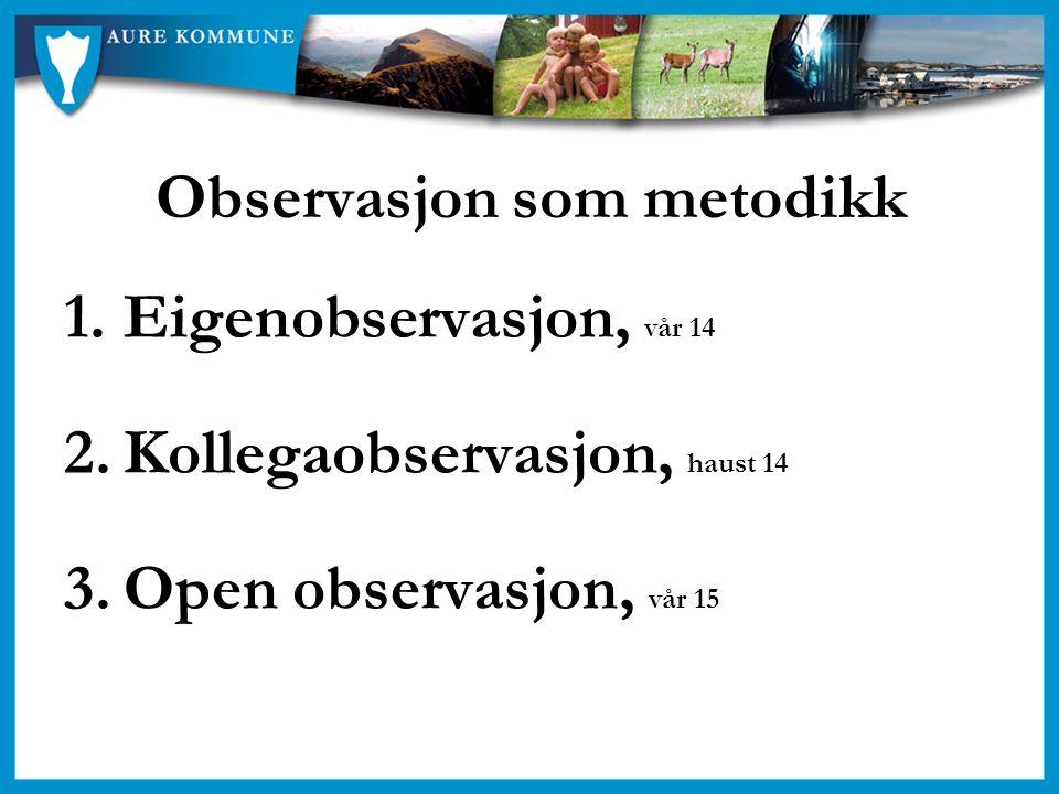Observasjon som metodikk 1.Eigenobservasjon, vår 14 2.Kollegaobservasjon, haust 14 3.Open observasjon, vår 15