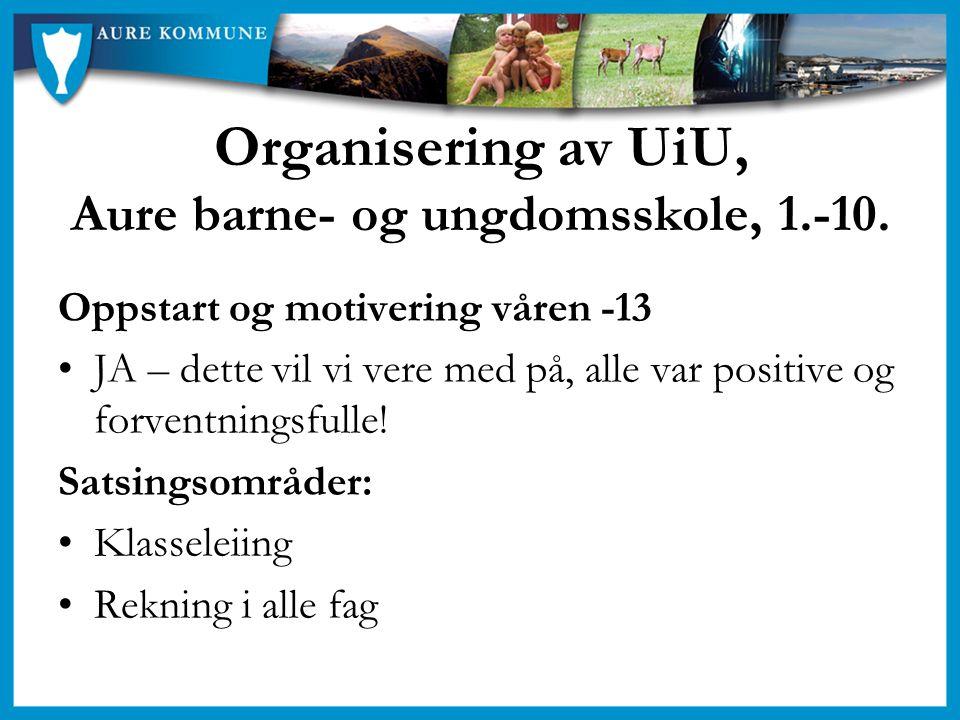 Organisering av UiU, Aure barne- og ungdomsskole, 1.-10. Oppstart og motivering våren -13 JA – dette vil vi vere med på, alle var positive og forventn