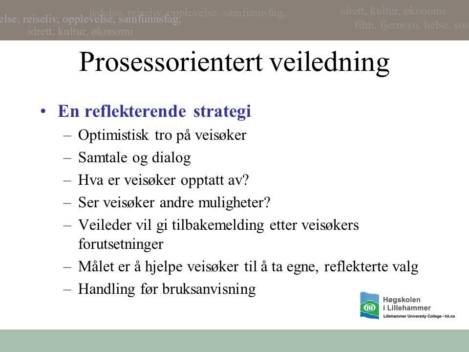 Prosessorientert veiledning En reflekterende strategi –Optimistisk tro på veisøker –Samtale og dialog –Hva er veisøker opptatt av.