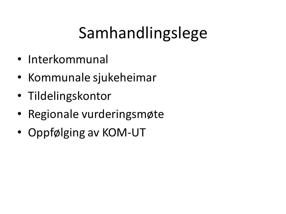 Samhandlingslege Interkommunal Kommunale sjukeheimar Tildelingskontor Regionale vurderingsmøte Oppfølging av KOM-UT