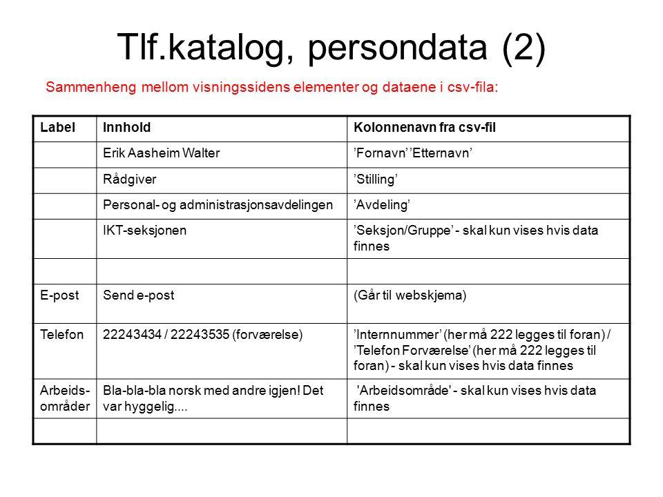 Bildevisning på persondatasiden Gjenbruker intranett-bilder, som med jevne mellomrom dumpes til norad.no.