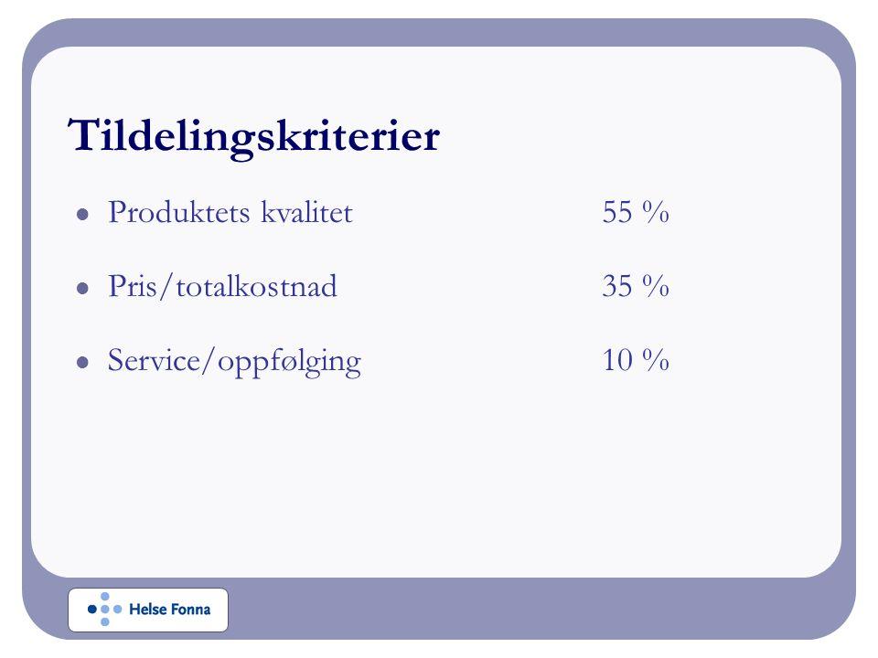 Produktets kvalitet55 % Pris/totalkostnad35 % Service/oppfølging10 %