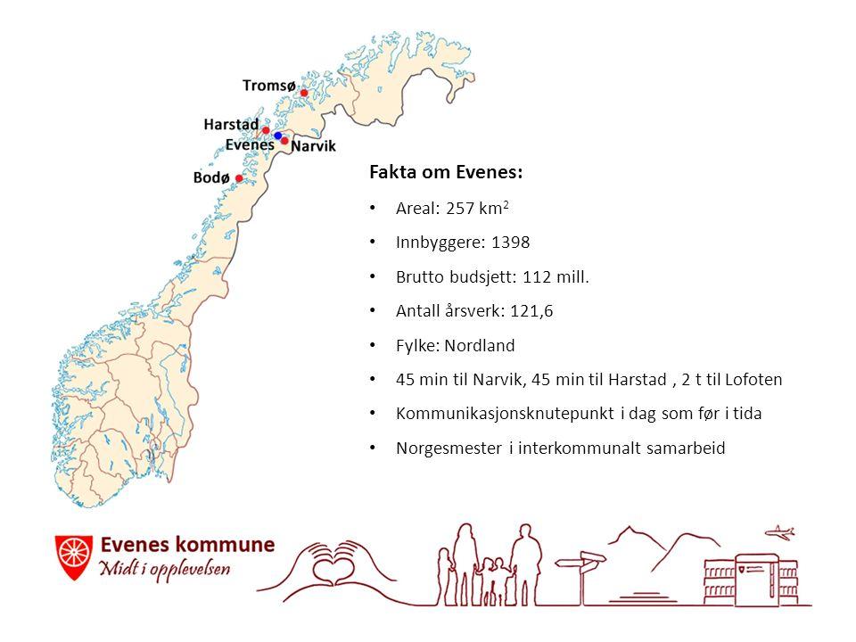 Fakta om Evenes: Areal: 257 km 2 Innbyggere: 1398 Brutto budsjett: 112 mill.