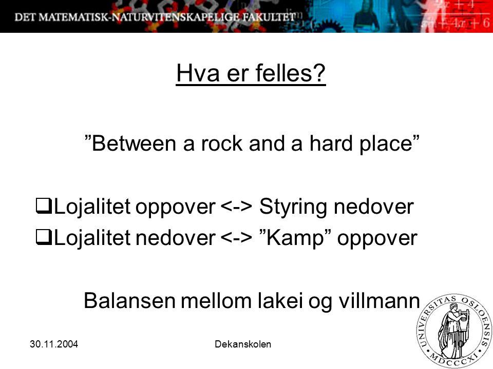 """30.11.2004 Dekanskolen 10 Hva er felles? """"Between a rock and a hard place""""  Lojalitet oppover Styring nedover  Lojalitet nedover """"Kamp"""" oppover Bala"""