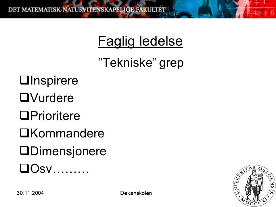 """30.11.2004 Dekanskolen 12 Faglig ledelse """"Tekniske"""" grep  Inspirere  Vurdere  Prioritere  Kommandere  Dimensjonere  Osv………"""