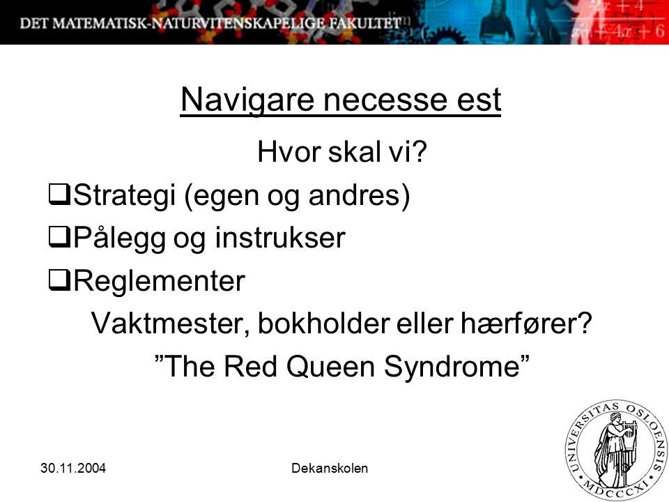 30.11.2004 Dekanskolen 13 Navigare necesse est Hvor skal vi?  Strategi (egen og andres)  Pålegg og instrukser  Reglementer Vaktmester, bokholder el