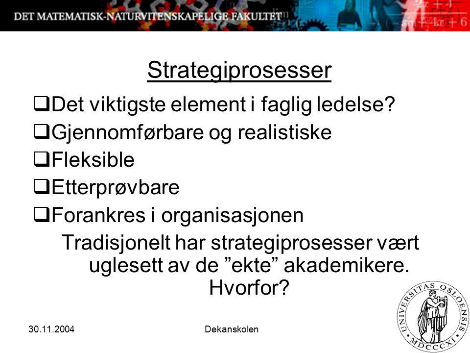 30.11.2004 Dekanskolen 14 Strategiprosesser  Det viktigste element i faglig ledelse?  Gjennomførbare og realistiske  Fleksible  Etterprøvbare  Fo
